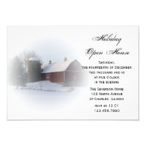 Snow Covered Country Barn Holiday Open House Party Invitation