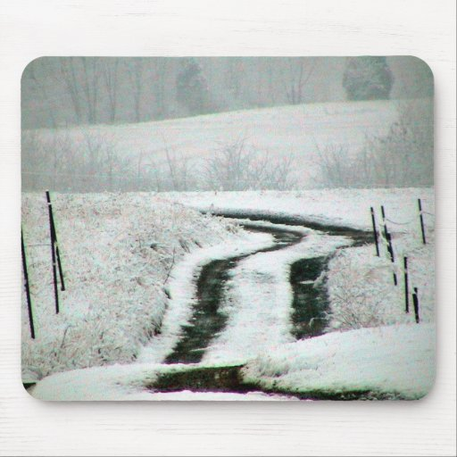 Snow Covered Country Lane Mouse Pads