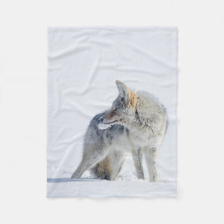 Snow-covered Coyote Beautiful White Fleece Blanket