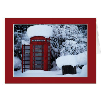 Snow Covered English Phone Box Blank Card