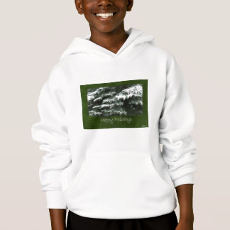 Snow-Covered Evergreen Branches - Happy Holidays Hoodie