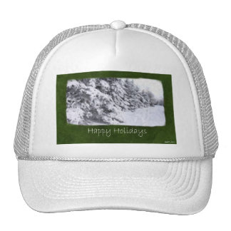 Snow-Covered Evergreen Trees - Happy Holidays Trucker Hat