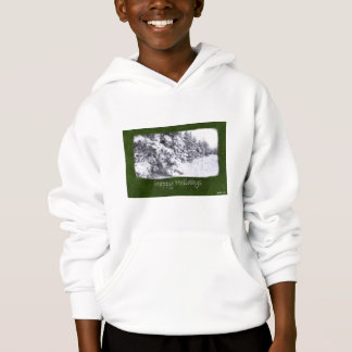 Snow-Covered Evergreen Trees - Happy Holidays Hoodie