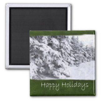 Snow-Covered Evergreen Trees - Happy Holidays Magnets