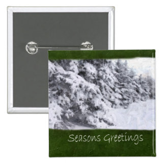 Snow-Covered Evergreen Trees - Seasons Greetings Pinback Button