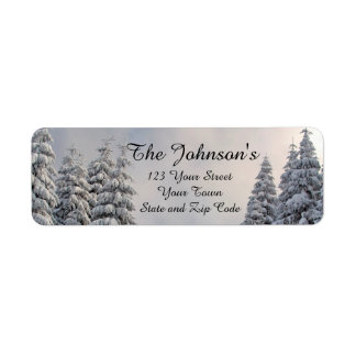 Snow Covered Evergreens Return Address Labels