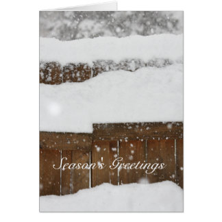 Snow Covered Fence Greeting Card