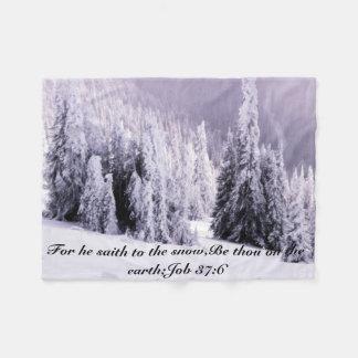 Snow covered fleece blanket