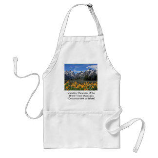 Snow Covered Grand Teton Range with Yellow Flowers Adult Apron