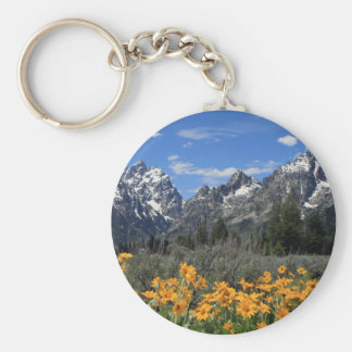 Snow Covered Grand Teton Range with Yellow Flowers Basic Round Button Keychain