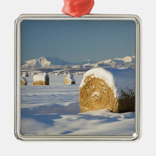 Snow-Covered Hay Bales Metal Ornament