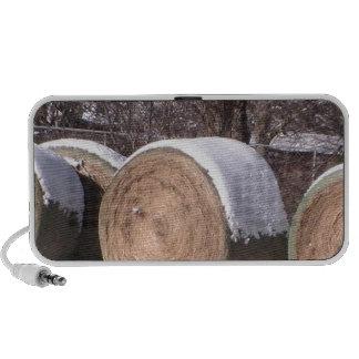 Snow covered hay bales notebook speakers