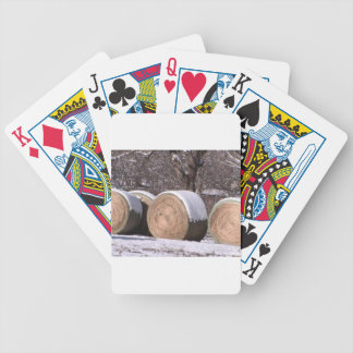 Snow covered hay bales card deck