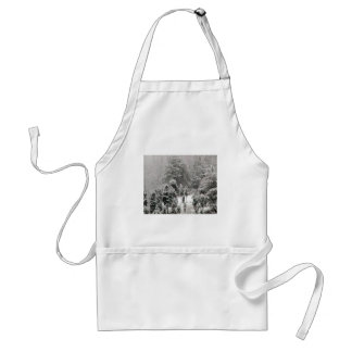 Snow Covered Hillside With Small Evergreens Aprons