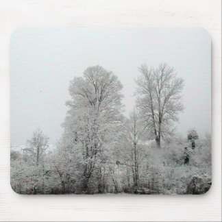 Snow Covered Hillside With Small Evergreens Mouse Pad