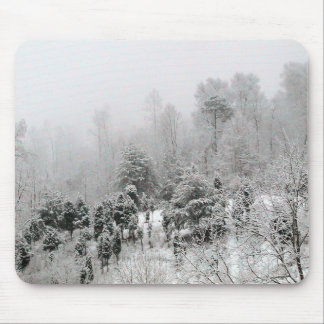 Snow Covered Hillside With Small Evergreens Mousepads