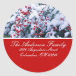 Snow Covered Holly Berries Address Labels Round Stickers