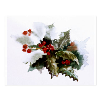 Snow-covered Holly Postcard, Holly Berries Postcard