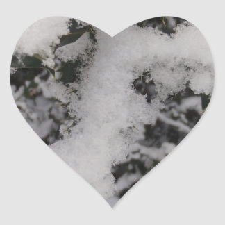 Snow Covered Holly Heart Stickers