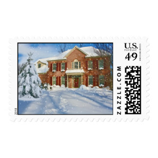 Snow Covered Home at Christmas Postage