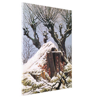 Snow Covered Hut by Caspar David Friedrich Stretched Canvas Print