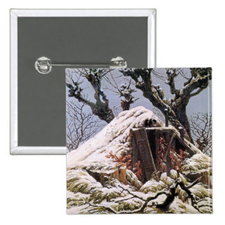 Snow Covered Hut by Friedrich Pin