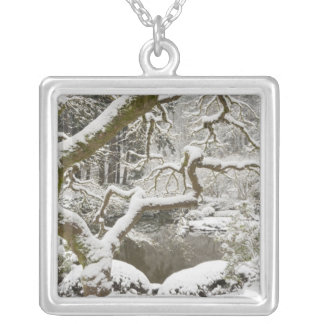 Snow-covered Japanese maple Silver Plated Necklace