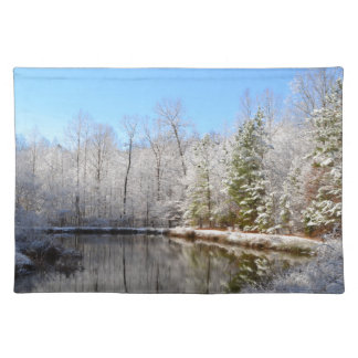 Snow covered landscape around the pond cloth placemat