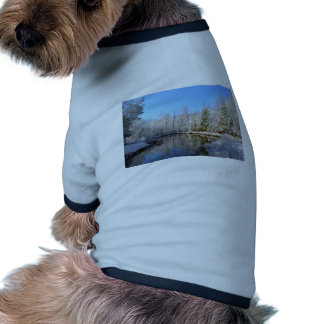 Snow covered landscape around the pond T-Shirt