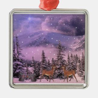 snow-covered landscape metal ornament