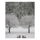 Snow covered landscape poster