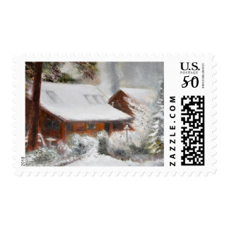 Snow Covered Lincoln Cabin Postage Stamp