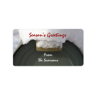 Snow Covered Mailbox Christmas Label