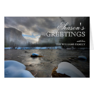Snow covered Merced River. El Capitan background Card