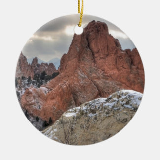 Snow Covered Monoliths 01 Double-Sided Ceramic Round Christmas Ornament