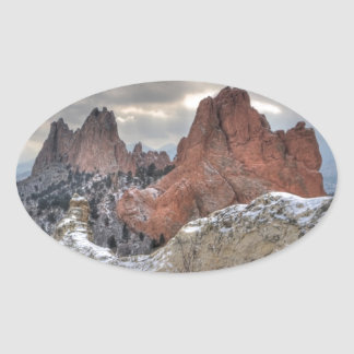 Snow Covered Monoliths 01 Oval Sticker