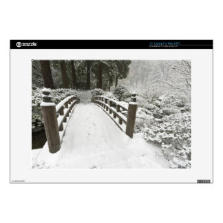 "Snow-covered moon bridge, Japanese Garden 15"" Laptop Decal"