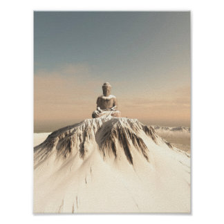 Snow Covered Mountain Buddha Poster