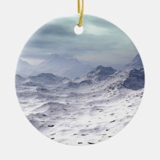 Snow Covered Mountains Ceramic Ornament