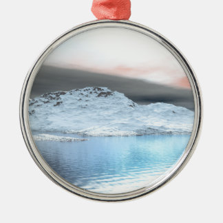 Snow Covered Mountains Metal Ornament