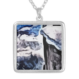 Snow covered mountains painting square pendant necklace