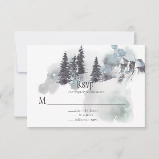 Snow-Covered Mountains Pine Trees Wedding RSVP