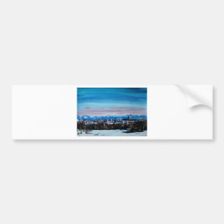 Snow Covered Munich Winter Panorama With Alps Car Bumper Sticker