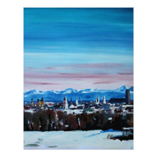Snow Covered Munich Winter Panorama With Alps Letterhead Design