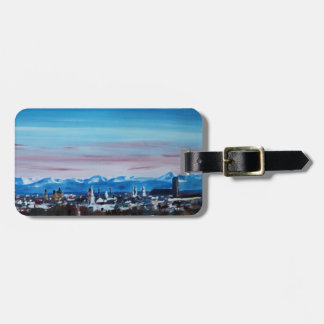 Snow Covered Munich Winter Panorama With Alps Tag For Bags