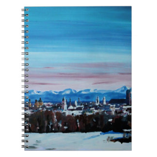 Snow Covered Munich Winter Panorama With Alps Spiral Notebook