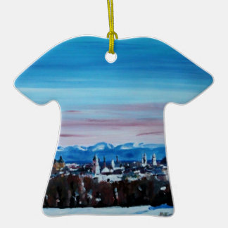 Snow Covered Munich Winter Panorama With Alps Double-Sided T-Shirt Ceramic Christmas Ornament