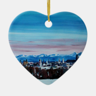 Snow Covered Munich Winter Panorama With Alps Double-Sided Heart Ceramic Christmas Ornament