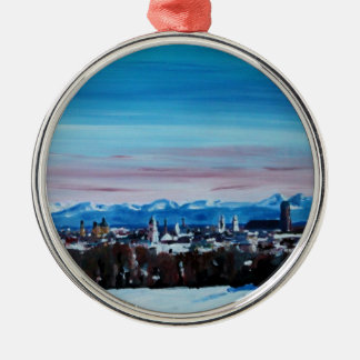 Snow Covered Munich Winter Panorama With Alps Round Metal Christmas Ornament