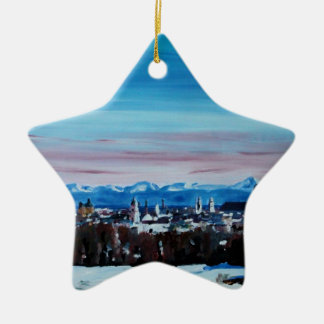 Snow Covered Munich Winter Panorama With Alps Double-Sided Star Ceramic Christmas Ornament